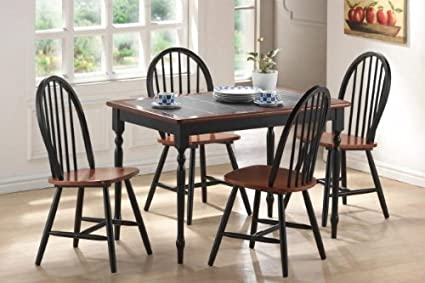 5 Pc Tile Top Dining Set In Black And Cherry Finish