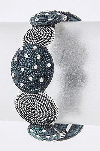 John Hardy Silver Chain Bracelet (TRENDY FASHION JEWELRY ROUND ANTIQUE TEXTURED BRACELET BY FASHION DESTINATION | (Silver/Turquoise))