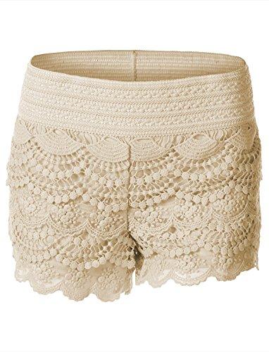 Creme Short (7Encounter Women's Layered Crochet Lace Shortie Shorts Crème Medium)
