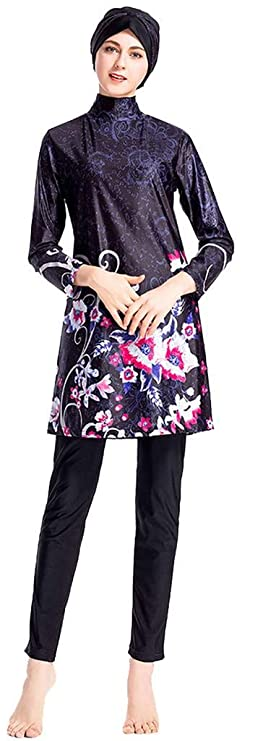 8416c9fbbbe Ababalaya Womens Modest Muslim Islamic Full Cover Burkini Floral Swimsuit  with Swimming Cap: Amazon.co.uk: Clothing