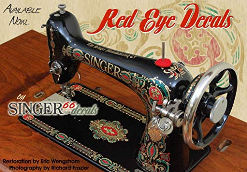 Restoration Decals for SINGER Antique Sewing Machine RED EYE Model 66 Color Correct