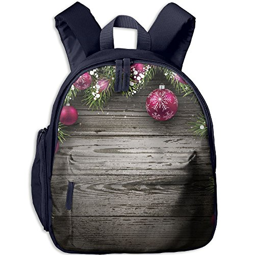 SarahKen Merry Xmas Floral Winter Themed Red Bird With Hat And Scarf On Blooming Tree Green White Kids School Bag Backpack Navy 12.5