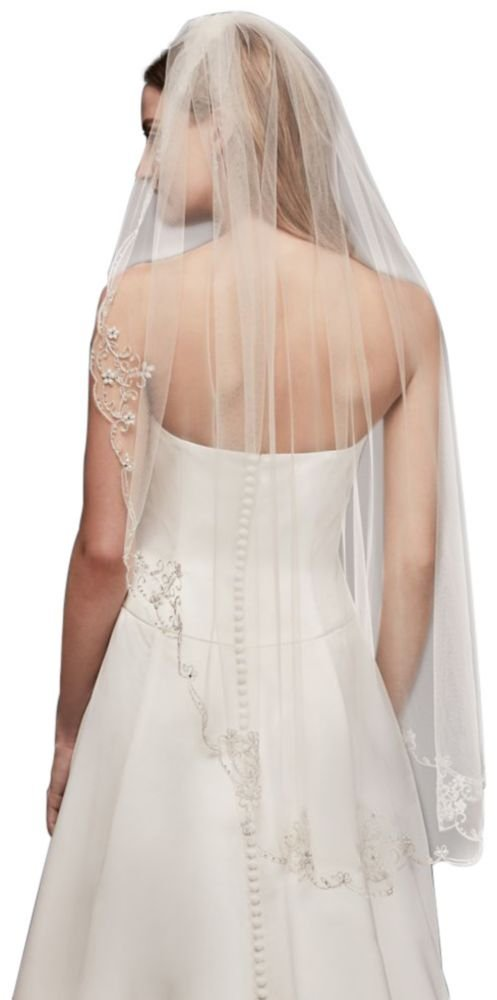Scrolled Scallop-Edge Fingertip Veil Style V378, Champagne by David's Bridal