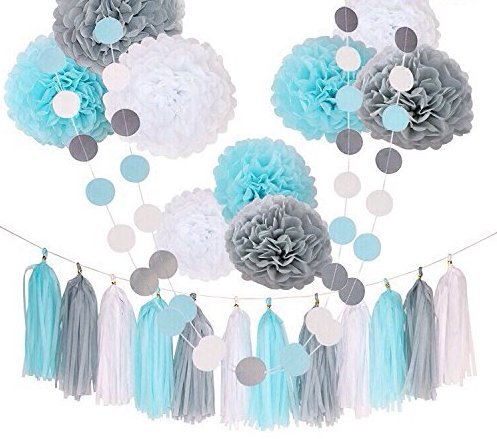 31 PIECE DECORATION SET Silver+ Baby Blue + White Tissue Paper Pom Poms and Tassels for Baby Shower, Nursery, Wedding, Graduation, Bridal Shower, Party Decoration Ideas and Supplies (Ideas For Baby Shower Decorations)