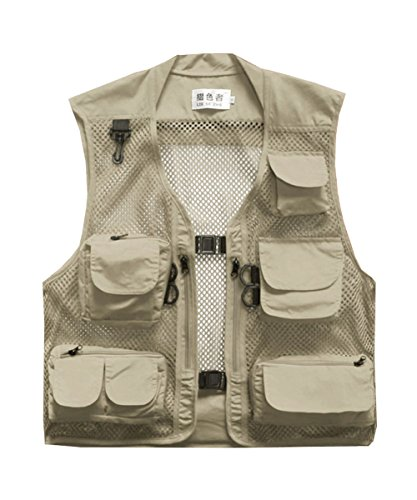 M2C Mens Outdoor Mesh Breathable Multi-Pocket Fly Fishing Vest Khaki X-Large Review