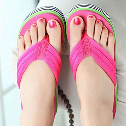 Chanclas mujer plataforma gruesa, Culater Sandalias de verano zapatillas de interior al aire libre zapatos de playa Rosa
