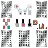 ALL-IN-ONE DIY Nail Art Stamping Kit | Latex Peel Off Liquid Tape, Black & White Nail Stamping Polish, 5 Manicure Nail Stamping Design Plates, 2 Clear Nail Stampers, and Scraper | Nail Art Tools