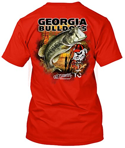NCAA - Bass Fishing T Shirt - Multiple Universities Available - up to 2X and 3X - Officially Licensed Apparel (Georgia Bulldogs, X-Large) ()