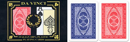 24 sets (48 decks) Da Vinci Ruote, Italian 100% Plastic Playing Cards, Poker Size Jumbo Index
