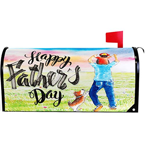 Wamika Spring Happy Father Day Funny Dog Floral Mailbox Cover Magnetic Standard Size,Best Super Dad Cute Animal Letter Post Box Cover Wrap Decoration Welcome Home Garden Holiday Outdoor 21