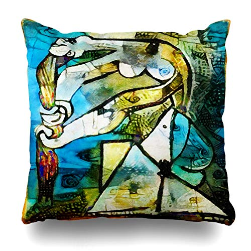 Ahawoso Throw Pillow Cover Applied Alternative Famous Paintings by Picasso Fine Abstract Kandinsky Designed Design Home Decor Cushion Case Square Size 18 x 18 Inches Zippered Pillowcase ()