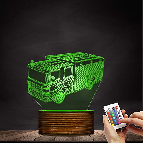 Novelty Lamp, 3D Led Lamp Optical Illusion Fire Truck Night Light 16 Colors with Remote Control Room Decor Switch Remote - Gift for Birthday Christmas Child Adult,Ambient Light by LIX-XYD (Image #2)