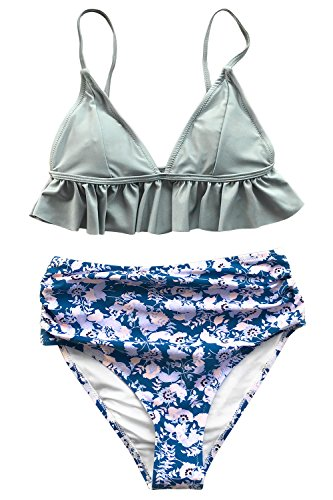 Women Magic - CUPSHE Women's Magic Crystal High-Waisted Push Up Bikini Set, Blue, Large