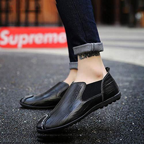Hommes Ons Slip en en Chaussures Noir paresseuses Chaussures Respirantes élégantes d'entraînement YH Pois Mocassins Chaussures Confortables Chaussures de Printemps Cuir Automne Chaussures Marche q8tapw0