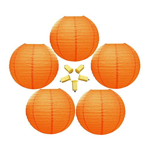 Neo-LOONS-5-Pack-10-Inch-Orange-Round-ChineseJapanese-Paper-Lanterns-Metal-Framed-Hanging-Lanterns-with-LED-Lights-For-Home-Decor-Parties-Weddings-and-DIY