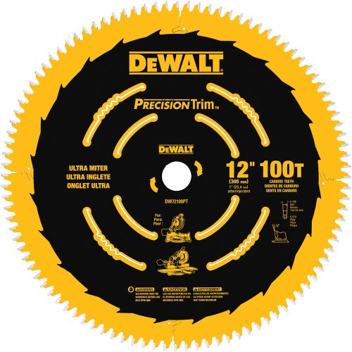 Friction Saw Blades - DEWALT DW72100PT 12-Inch 100T Ultra-Smooth Crosscutting Saw Blade