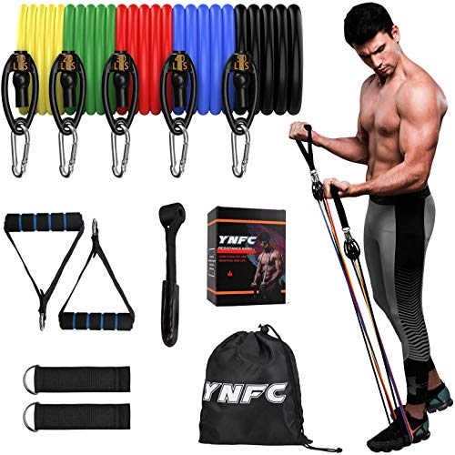 YNFC Resistance Bands Set 5 in 1 Exercise Bands, Indoor Fitness Bands with Door Anchor & Handles, Home Gym Equipment…