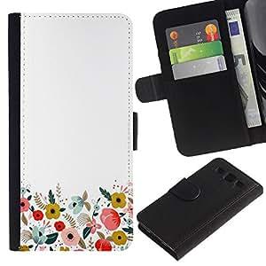 EuroTech - Samsung Galaxy S3 III I9300 - White Minimalist Clean Field Flowers - Cuero PU Delgado caso Billetera cubierta Shell Armor Funda Case Cover Wallet Credit Card