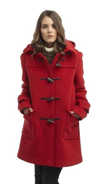 Womens London Duffle Coat -- Red: Amazon.co.uk: Clothing