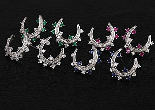 LORELYS - Cadeau d'amour Lune Etoile Boucles d'oreille Puces Cristal Autrichien Serti Des Cristaux Transparent Plaqué Or Blanc