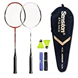 Senston 2 Player Badminton Racket Set Double Rackets - Including 1 Badminton Bag/2 Rackets/2 Shuttlecocks/2 Grip