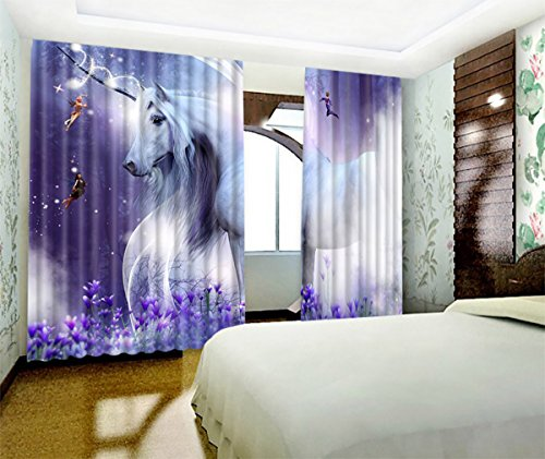 Unicorn Decor 3D Window Curtains By LB,Unicorn Stood in the Lavender Mystic Fantasy Fairytale Window Treatment Curtains Living Room Bedroom Window Drapes 2 Panels Set,104W x 63L Inches