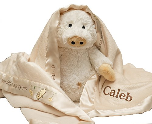 Personalized Custom Monogrammed with Name on Baby Aspen Pig-N-A- Blanket with Plush Gift ()