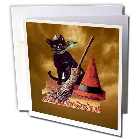 3dRose Vintage Halloween Black Cat Greeting Cards, 6