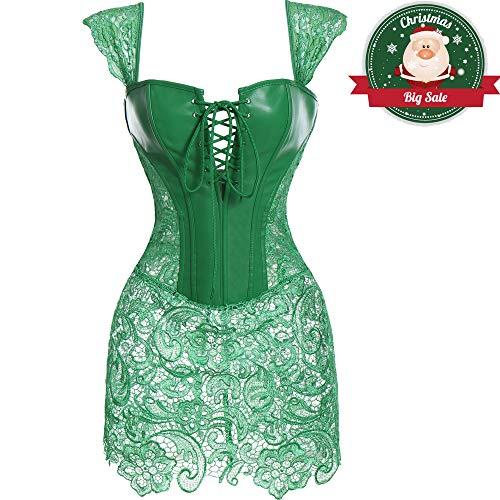 adec22e4e0 MISS MOLY Faux Leather Corset Vest Plus Size Lingerie Buckle Lacing Steel  Boned Green Corse Dress