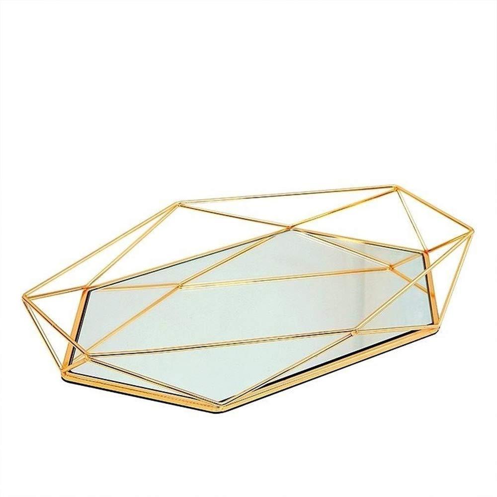 LFA Cristal Europeo Retro Exhibici/ón de la Placa Placa Dormitorio N/órdico Cosm/ética Americana Almacenamiento de Bandeja de Postre Decoraci/ón de la Placa,Gold-OneSize