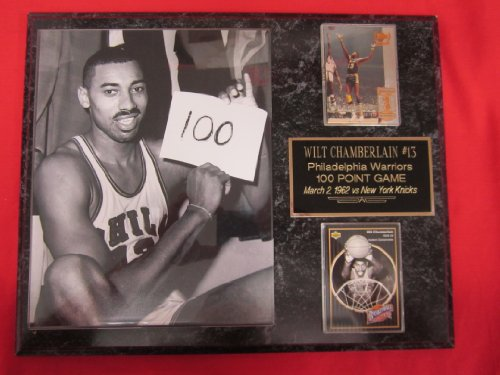 Wilt Chamberlain 100 Point Game 2 Card Collector Plaque w/8x10 Photo VINTAGE ()
