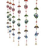 Jaipuri Haat Paper Mache Hand Crafted elephant ring with umbrella hangings in Pair ( 120 CM )