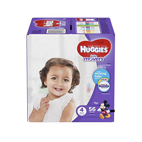 HUGGIES LITTLE MOVERS Diapers, Size 4 (22-37 lb.), 56 Ct. (Packaging May Vary), Baby Diapers for Active Babies (Huggies Little Movers Diaper Pants Size 4)
