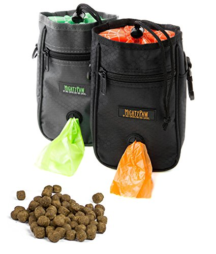 Mighty Paw Dog Treat Bag, Premium Quality Drawstring Closure Pouch, Includes Carabiner Hook, 1 Roll of Pick-up Bags and Reflective Belt (Black) - Dog Treat Pouch