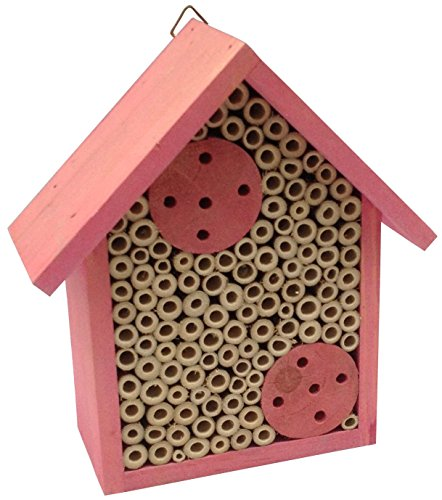 Certified Swiss Made - Mason Bee House - Bamboo Tube Bee Hotel for Solitary Bees - Attract More Pollinating Bees to Your Garden by Providing Them with a Bee Home Made from FSC Certified Wood | by Cestari (Pink)