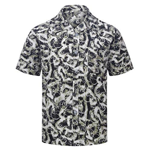 Trule Casual Shirts Summer Mens Print Shirts Casual Short Sleeve Beach Tops Loose Turn-Down Collar -