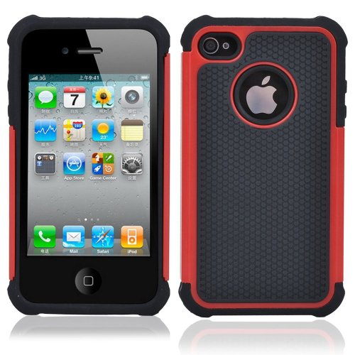 TCD for Apple iPhone 5C Red Executive Armor Defender Series [HIGH IMPACT] Multi Layer [Hard/Soft Combo] TPU & Hard Plastic Shock Absorbent Case [SCREEN PROTECTOR STYLUS]