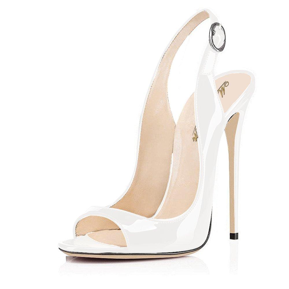 Modemoven Women's Patent Leather Pumps,Peep Toe Heels,Slingback Sandals,Evening Shoes,Cute Stilettos B071LDNWR5 8.5 B(M) US|White