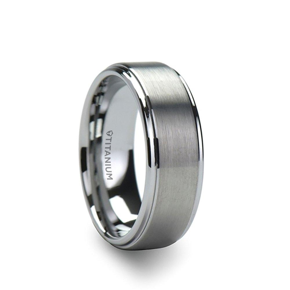 THORSTEN - RHINOX Matte Brushed Raised Finished Center Titanium Wedding Ring with Polished Step Edges Comfort Fit Lightweight Durable Wedding Band - 8mm