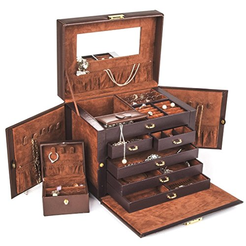 beautiful-large-brown-leather-jewelry-box-case-storage-locked-with-key