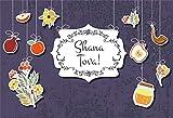 Laeacco Rosh Hashanah Backdrop 7x5ft Vinyl Judaic New Year Traditional Festival Hanging Symbols Apple Pomegranate Honey Horn Illustration Shana Tova Photography Background Judaism Religious Belief