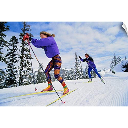 CANVAS ON DEMAND Couple Cross-Country (Telemark or 'Nordic') Skiing Wall Peel Art Print, ()