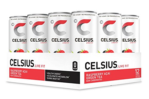 CELSIUS Raspberry Acai Green Tea Non-Carbonated Fitness Drink, ZERO Sugar, 12oz. Slim Can, 12 -