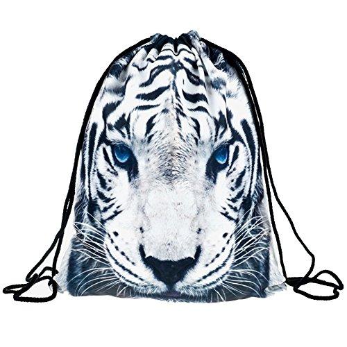 Ababalaya 3D Print Drawstring Backpack Rucksack Shoulder Bags Gym Bag, White Tiger