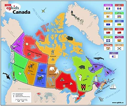 Map Of Canada For Kids Canadian Geographic Kids Map of Canada, Jigsaw Puzzles   Amazon Canada