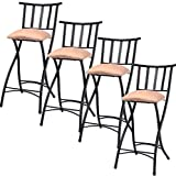 K&A Company Bar Pub Counter Kitchen Set Chair Stools Height Dining Stool Modern Chairs Swivel Adjustable Seat Set of 4 Folding