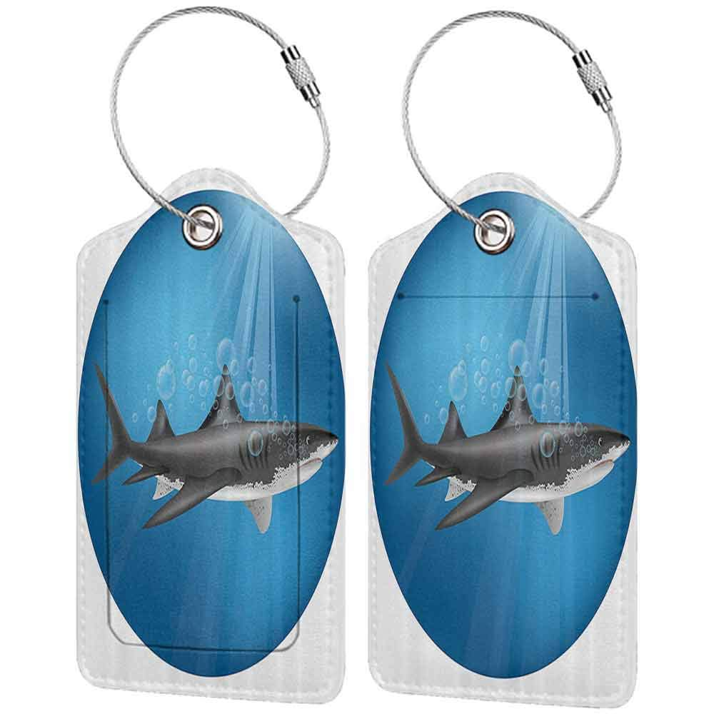 Waterproof luggage tag Sea Animal Decor Shark in Sea with Sun Rays in Circle Aquatic Underwater Creature Home Decor Soft to the touch Blue Grey W2.7 x L4.6