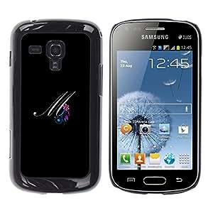 TopCaseStore / la caja del caucho duro de la cubierta de protección de la piel - Black Initials Letter Calligraphy Text - Samsung Galaxy S Duos S7562
