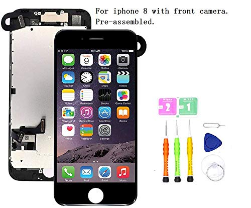Screen Replacement Compatible with iPhone 8(4.7 inch) Full Assembly - LCD 3D Touch Display Digitizer with Ear Speaker, Sensors and Front Camera, Fit Compatible with iPhone 8-4.7 inch (Black) (4 Iphone Digitizer)