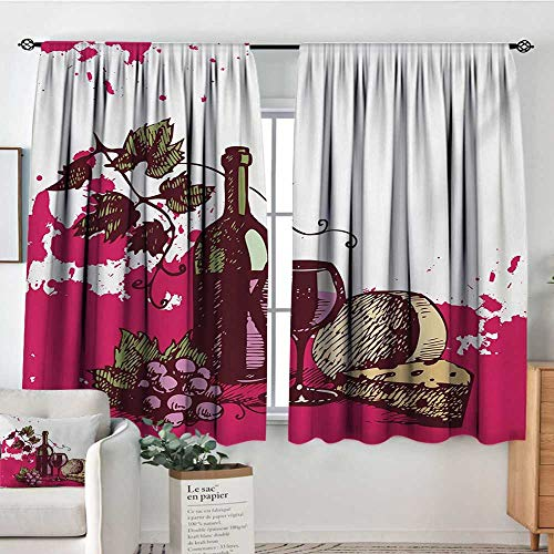 Mozenou Wine Thermal Insulating Blackout Curtain Vintage Sketchy Artwork Cheese Alcoholic Drink Fruit Abstract Design Patterned Drape for Glass Door 72